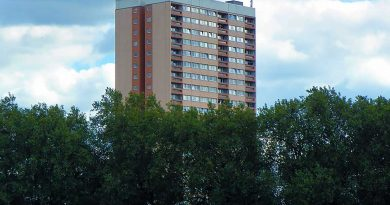 The salmon pink Clare House, Bow, Tower Hamlets.